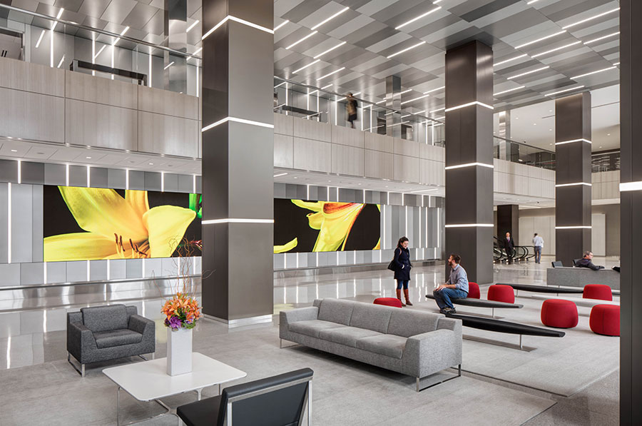 """The lobby of One Prudential Plaza, where the Chicago Pedway soundwalk """"Hear Below"""" will begin."""