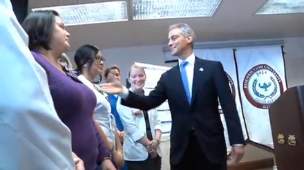 Mayor Rahm Emanuel tours the new Jones College Prep High School last week—the same day he shut Alderman Robert Fioretti out of his press conference.