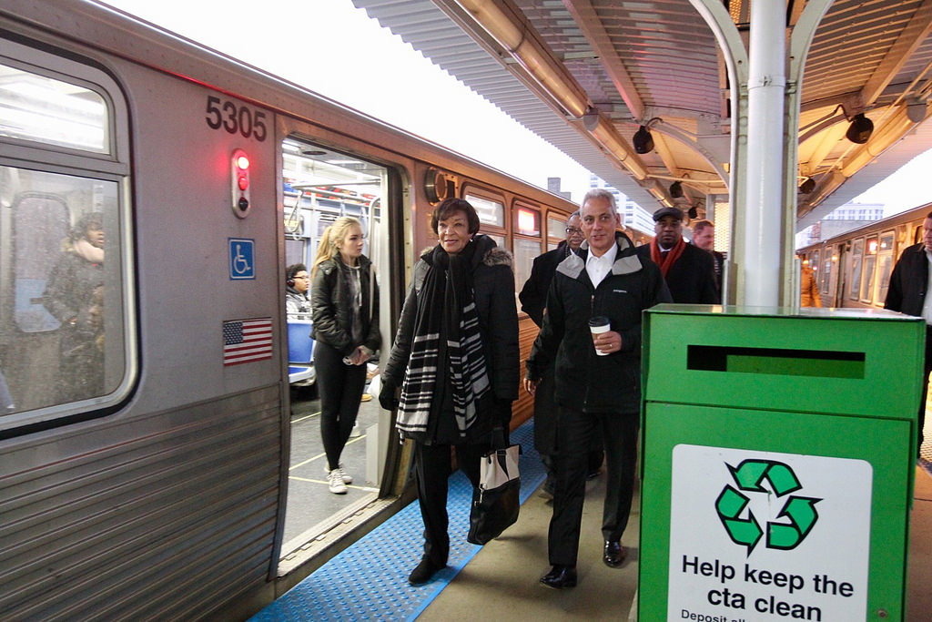 Mayor Rahm Emanuel toured the Argyle Red Line station with the Federal Transit Administration's Carolyn Flowers last week, on the day of the grant announcement.