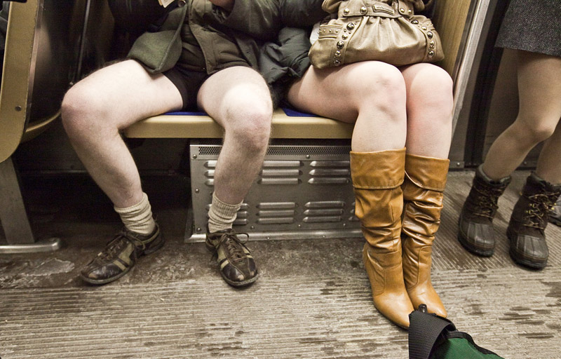 """No Pants Subway Ride, January 10 / <a href=""""http://www.flickr.com/photos/robbieconaway/4263277653/in/pool-chicagoreader/"""">Robbie Conaway</a>"""