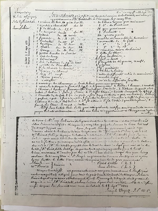 The record of the sale of Jean Baptiste Point Du Sable's trading point to Jean Lalime in 1800, witnessed by John Kinzie
