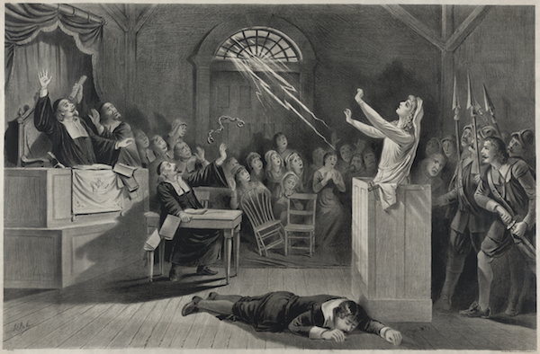 Fanciful representation of the Salem witch trials, lithograph from 1892