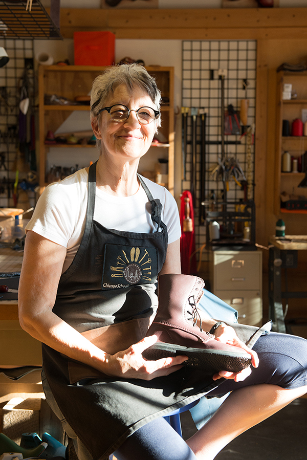 Sara McIntosh, founder of the Chicago School of Shoemaking, at her Ravenswood studio and school.