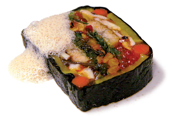 Terrine of squid, eel, and pickled vegetables with shiokara foam