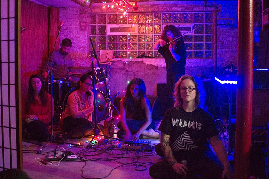 Adele Nicholas, Collin McCanna, Bindu Poroori, Lakshmi Ramgopal, Lucy Little, and Olivia Hickner at rehearsal