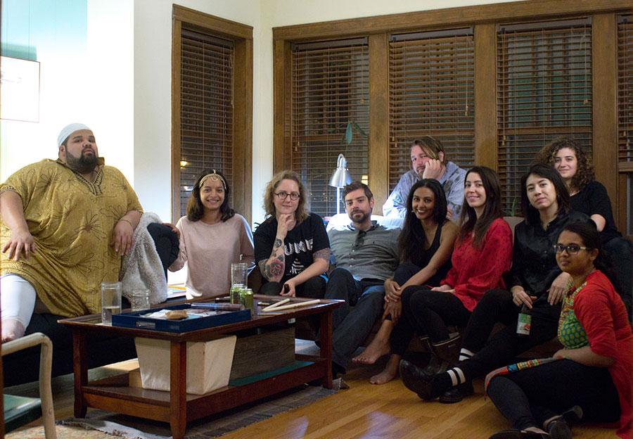 The entire group. Front row: Rosé Hernandez, Lisa Mishra, Olivia Hickner, Collin McCanna, Lakshmi Ramgopal, Adele Nicholas, assistant Dena Springer, and Bindu Poroori. Back row: Efrén Arcoiris, Lucy Little.