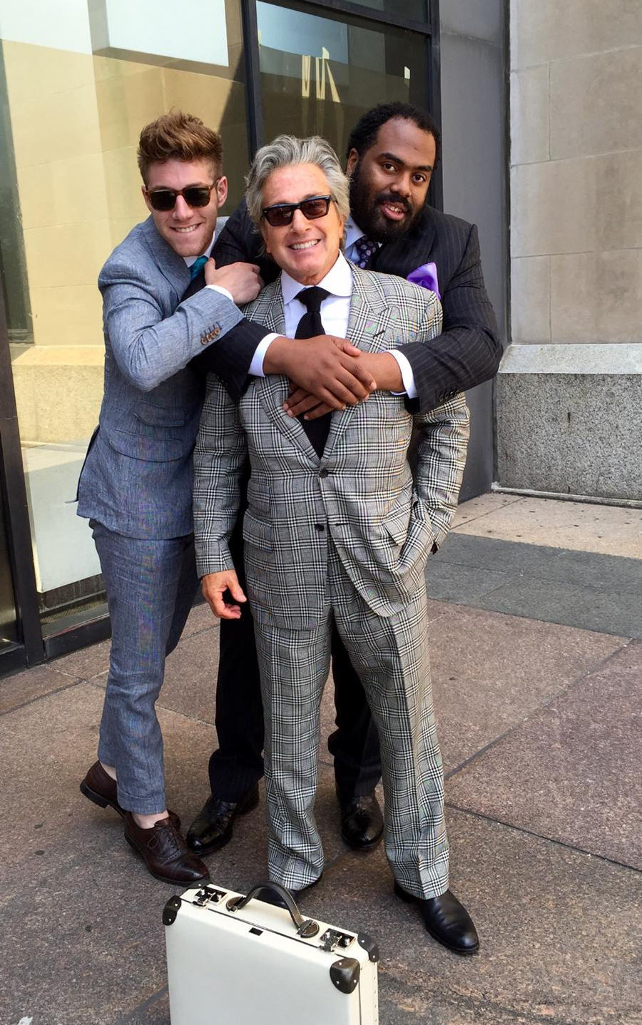 "Goldberg with nephew Matthew Kaplan and longtime client Kolby ""Big Mo"" Craig"