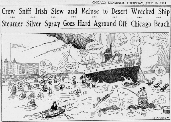 A <em>Chicago Examiner</em> comic from July 16, 1914, the day after the <em>Silver Spray</em> hit Morgan Shoal and two days before waves finally broke the ship apart.