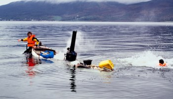 """Simon Starling and a colleague went on a """"self-defeating journey"""" in a boat for <i>Autoxylopyrocycloboros</i> (2006)."""