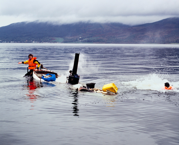 """Simon Starling and a colleague went on a """"self-defeating journey"""" in a boat for Autoxylopyrocycloboros (2006)."""
