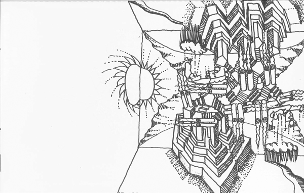 """A satirical architectural sketch, or """"architoon,"""" which Tigerman invented"""
