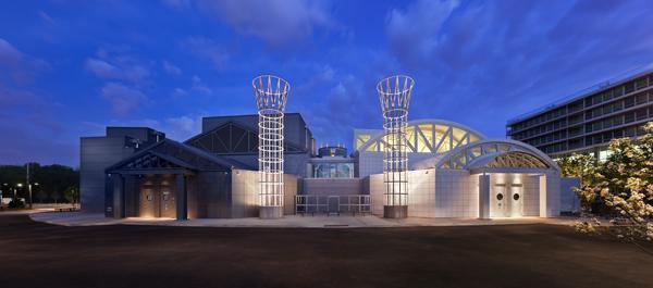 The Skokie Holocaust Museum and its temple pillars—or are they smokestacks?