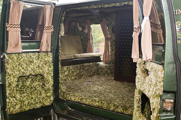 Shag carpeting lines Miss Vantastic's interior.