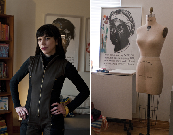 Jamie Hayes wearing one of her own creations; dress form and art by Paula Wilson