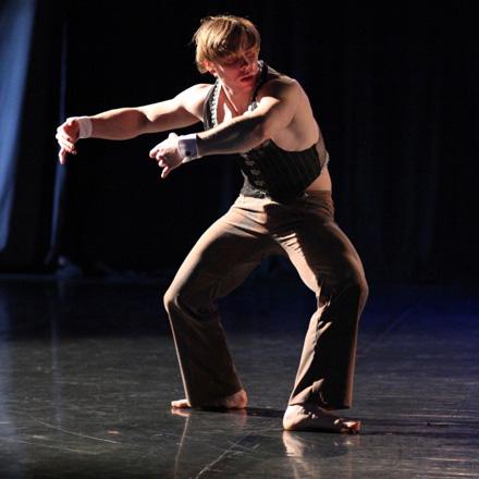 "Trevor Szuba-Schneider performs in Joanna Rosenthal's ""dark trio"" It Is What It Is, part of Same Planet Different World Dance Theatre's 15th anniversary show, ""Fifteen."""