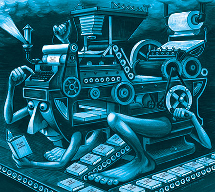 Illustration by Johnny Sampson, inspired by the late, great American illustrator Boris Artzybasheff's Machinalia series.