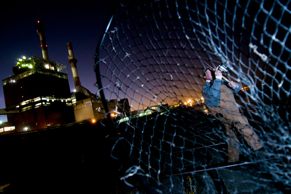 Fisherman at night at State Line
