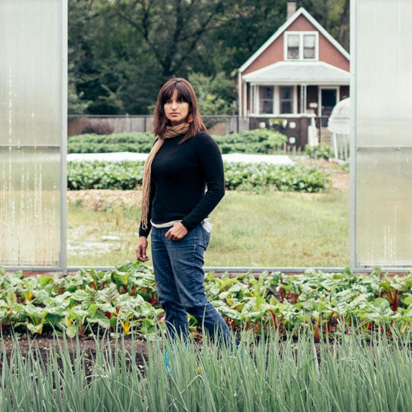Stephanie Douglass at Growing Home's Wood Street Urban Farm in Englewood