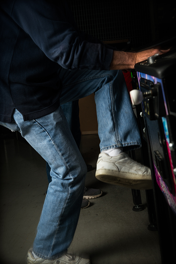 Former pinball champ Roger Sharpe's signature footwork during pinball play