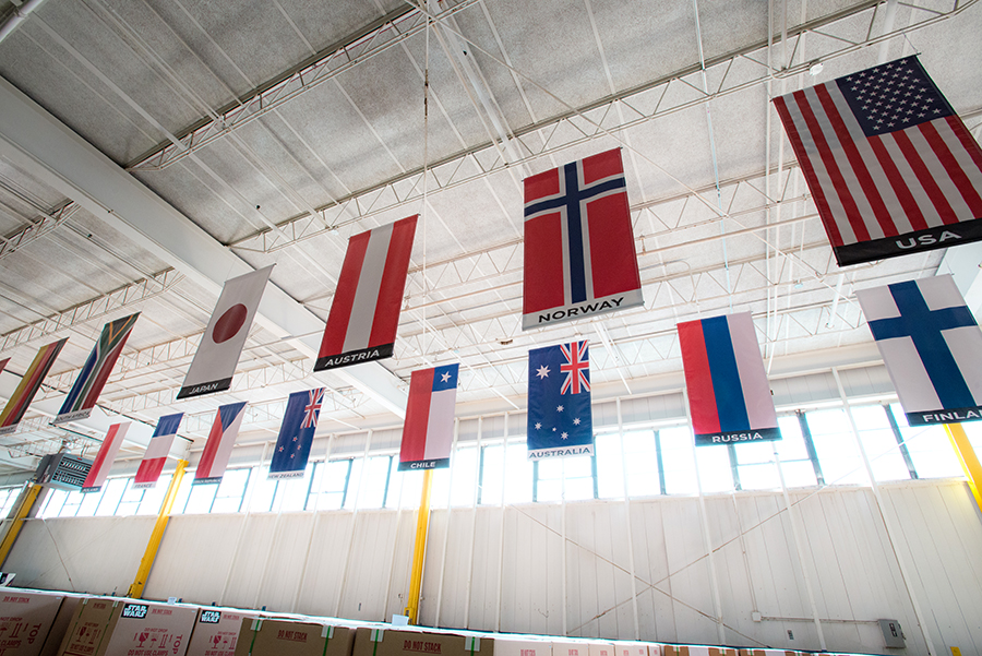 Flags representing all of the countries to which Stern ships pinball machines