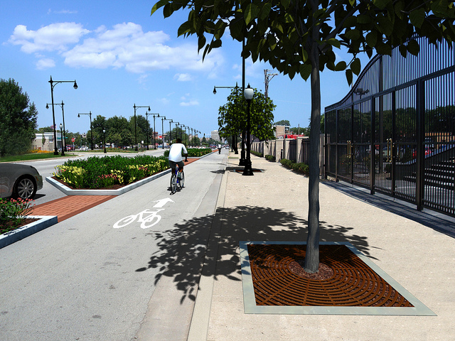 A CDOT rendering of one-way protected bike lanes on Stony Island. In this scenario, two mixed-traffic lanes would be converted to one-way bike lanes on opposite sides of the street.