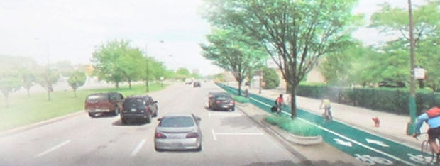 A CDOT rendering of Stony Island with a two-way protected bike lane