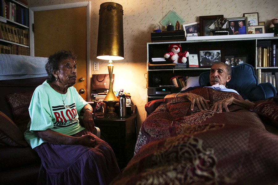 """Mama Lou visits her 94-year-old brother, the Reverend Clay Evans, at his home in Roseland. """"Half of him is me, and half of me is him,"""" she says. """"I know we're grown, but I still look up to him as my big brother. I can talk to him about my problems and ask for advice."""""""
