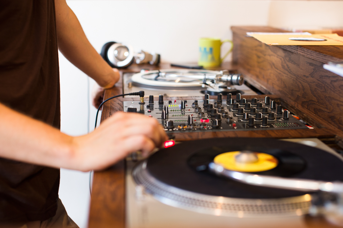The shop's shiny new turntables in action