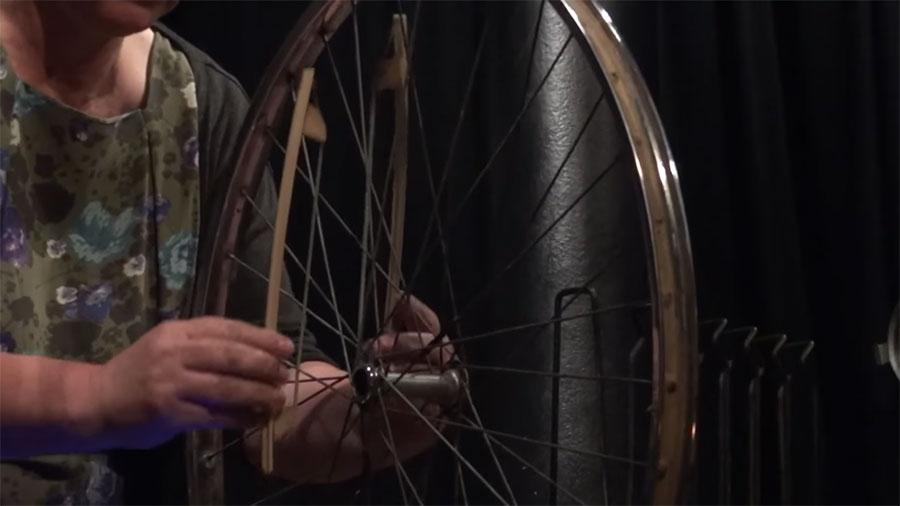 Sylvia Hallett bows a bicycle wheel at London's Vortex Jazz Club in 2011.