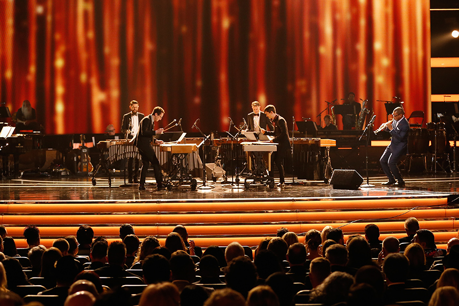 Third Coast Percussion perform the third movement of Steve Reich's <i>Mallet Quartet</i> at the 2017 Grammys with guest saxophonist Ravi Coltrane.