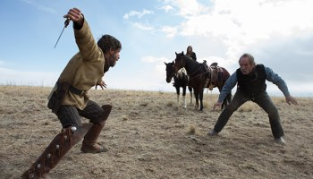 Tommy Lee Jones (right) in <i>The Homesman</i>