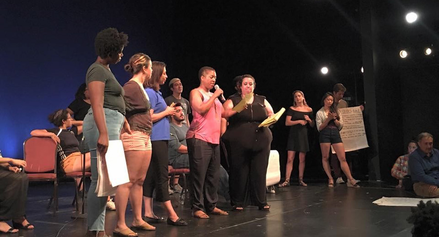 Participants at a town hall meeting share their suggestions for increasing opportunities for nonwhite actors.