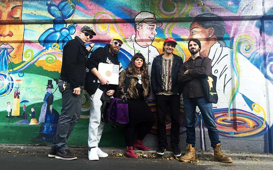 Tim Zawada with Ben Van Dyke and members of the Boogie Munsters crew outside Funk Trunk Records' Rogers Park Music Swap in November 2015. Left to right: Zawada, Shazam Bangles, Constance K, Van Dyke, and Frankie Sharp.