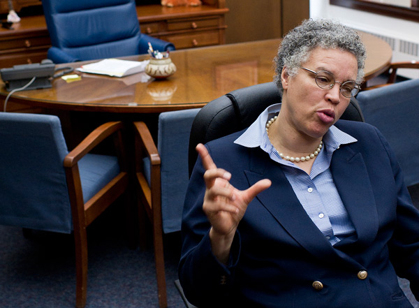 Cook County Board President Toni Preckwinkle, in her office at the County Building.