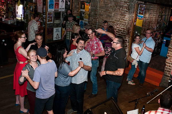 Jeffrey Cannon gives two-step dance lessons at the Empty Bottle.