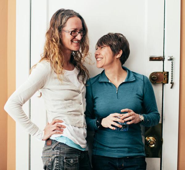 Katy Bird (left) and Lynn Rondeau at their home