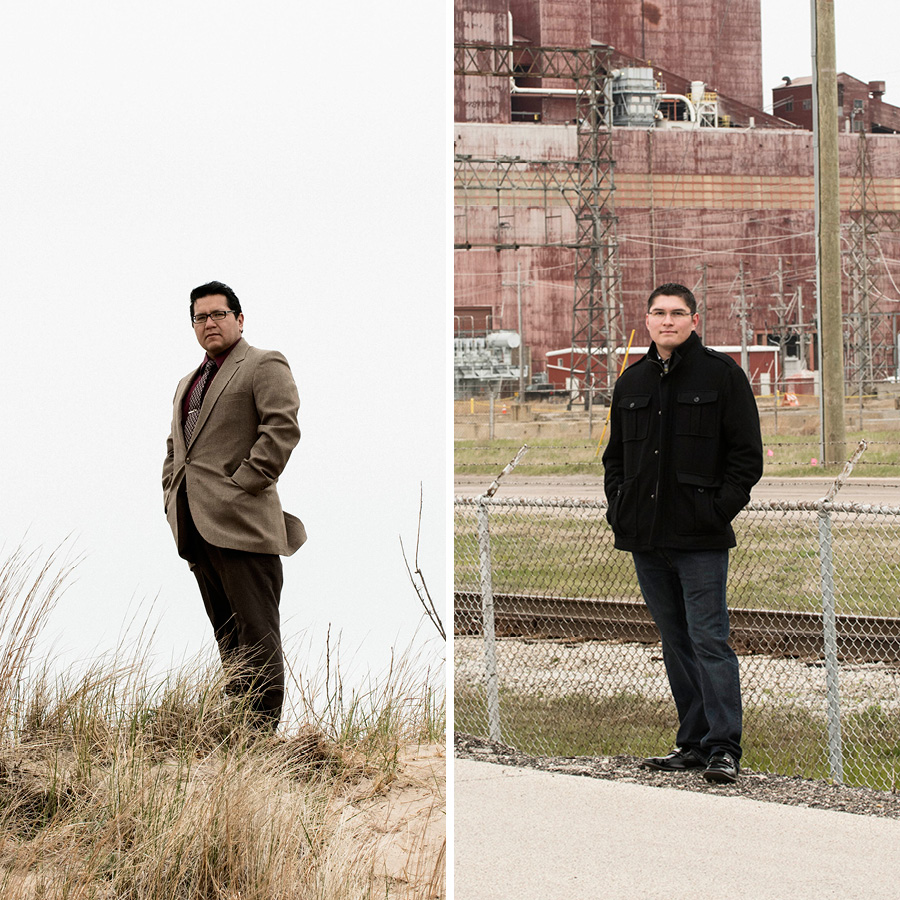"""Waukegan alderman David Villalobos, left, and resident Julio Guzman dream of an alternative energy future for their town. """"How cool would it be if it becomes a green city on the North Shore?"""" Guzman says."""
