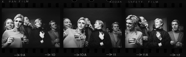 Andy Warhol, Edie Sedgwick, and entourage, New York 1965, by Steve Schapiro