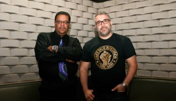Chicago DJ Jerome Derradji (right), whose Still Music label released <em>Kill Yourself Dancing,</em> and Sunset Records cofounder Matt Warren
