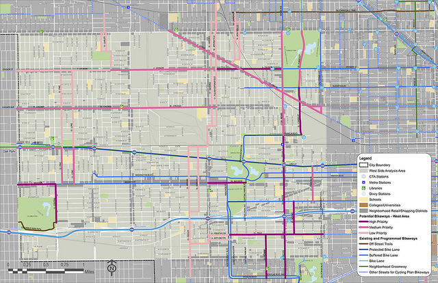 A map of the west-side study area, with potential new bikeways in pink