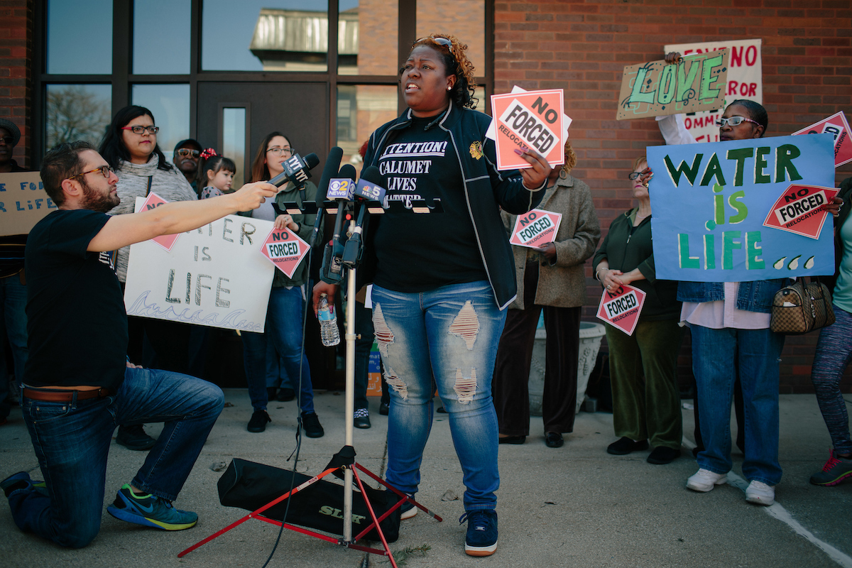 Daniels talks to the media at a rally held last week outside East Chicago mayor Anthony Copeland's office.
