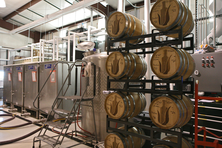 Bourbon aging in the distillery