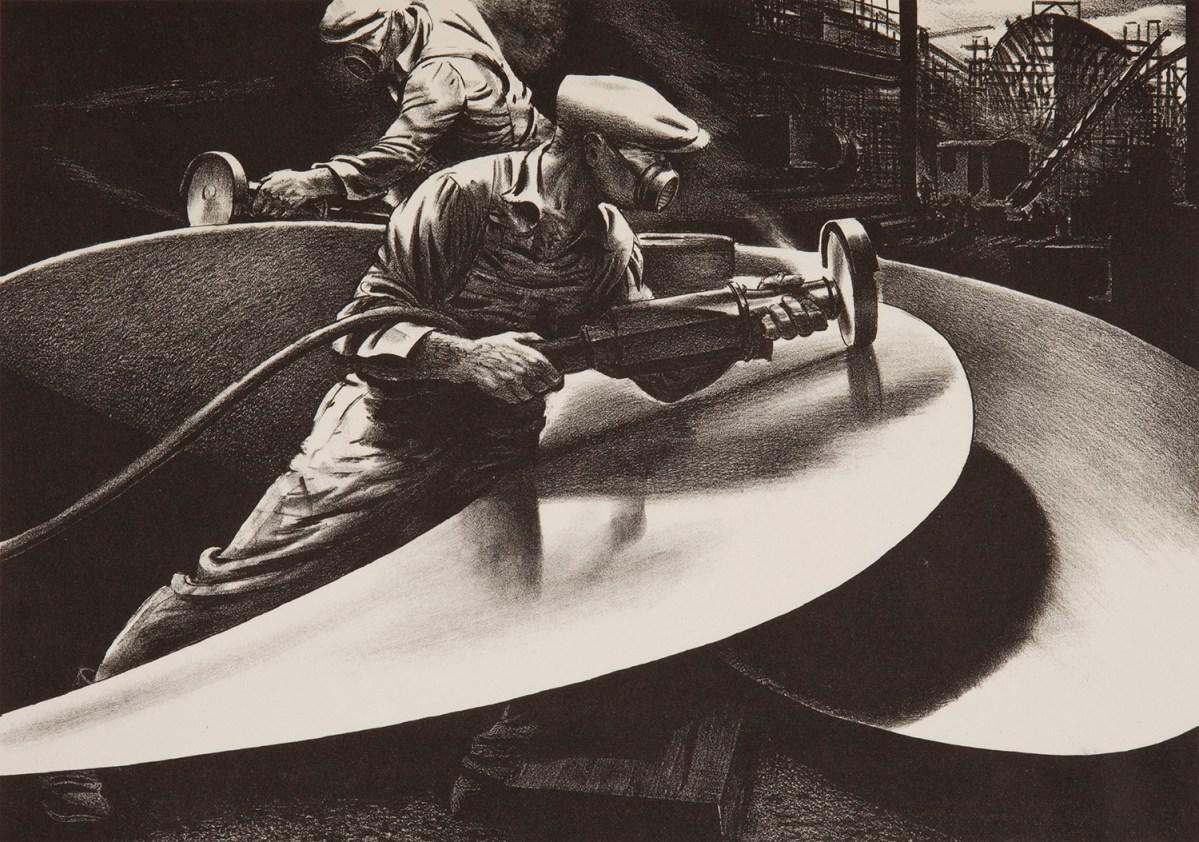 Sanding the Propeller, 1941, by Edward Arthur Wilson