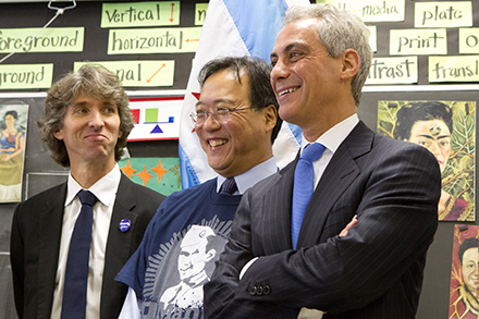 Damian Woetzel, Yo-Yo Ma, and Mayor Rahm Emanuel presenting the latest Chicago Cultural Plan