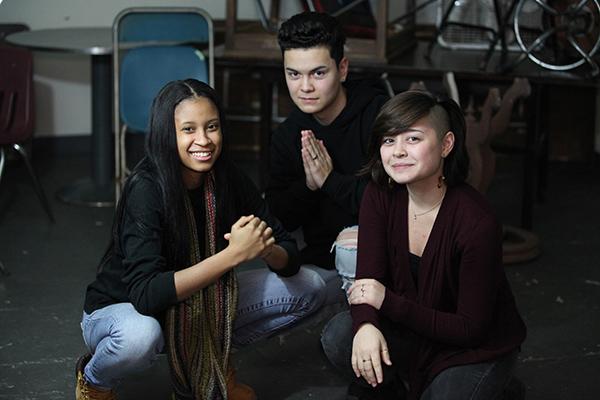 Winning young playwrights Myka Buck, Brian Hayes, and Keauna Pierce