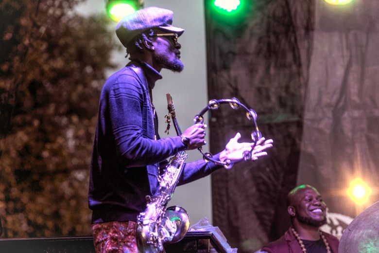 Saxophonist Isaiah Collier leads his band the 3-6 Project at the Hyde Park Jazz Festival.
