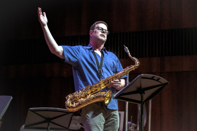 Ken Vandermark with his tenor saxophone at the Logan Center for the Arts during the Hyde Park Jazz Festival