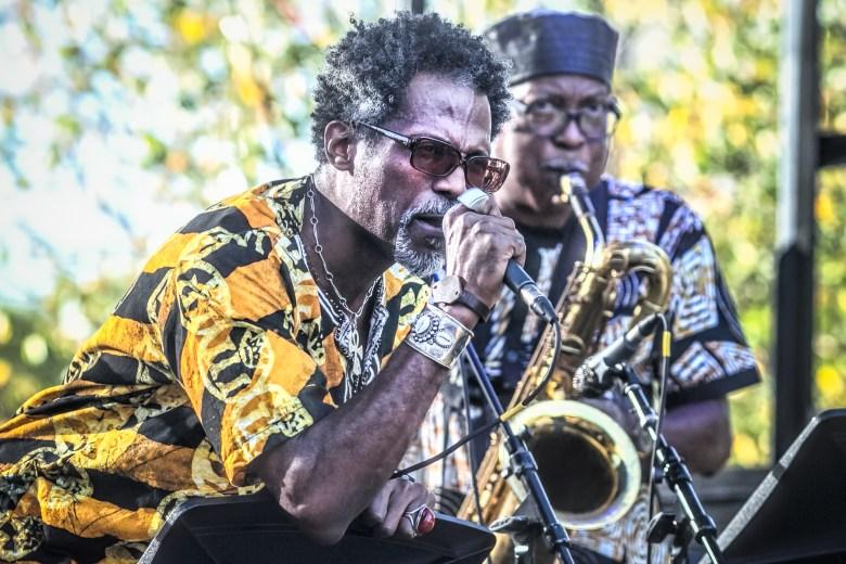 Khari B and Mwata Bowden perform at the Hyde Park Jazz Festival.