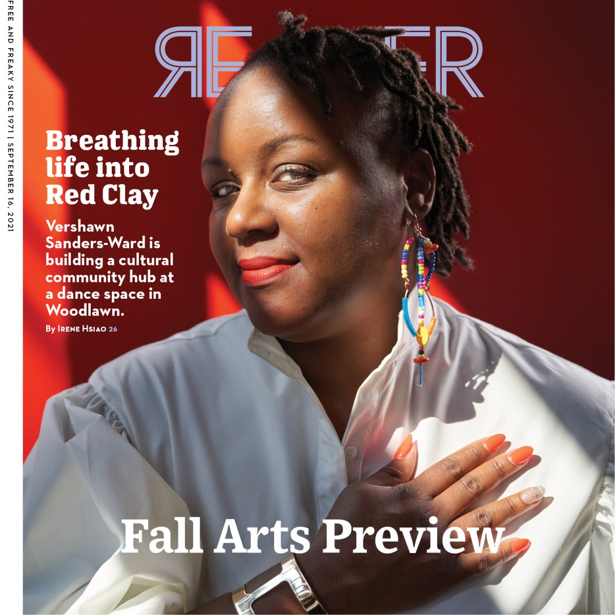 Image of the Reader cover featuring Vershawn Sanders-Ward in a white dress