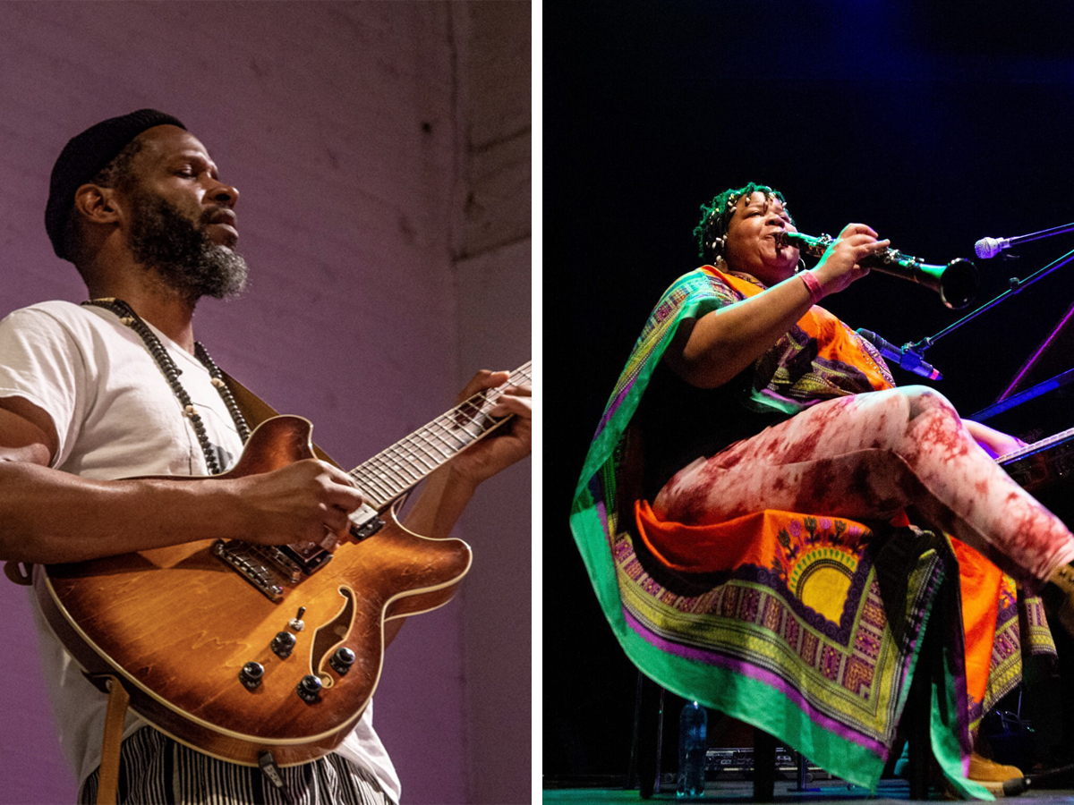 A diptych image of Detroit guitarist and composer LuFuki and Chicago multi-instrumentalist and composer Angel Bat Dawid